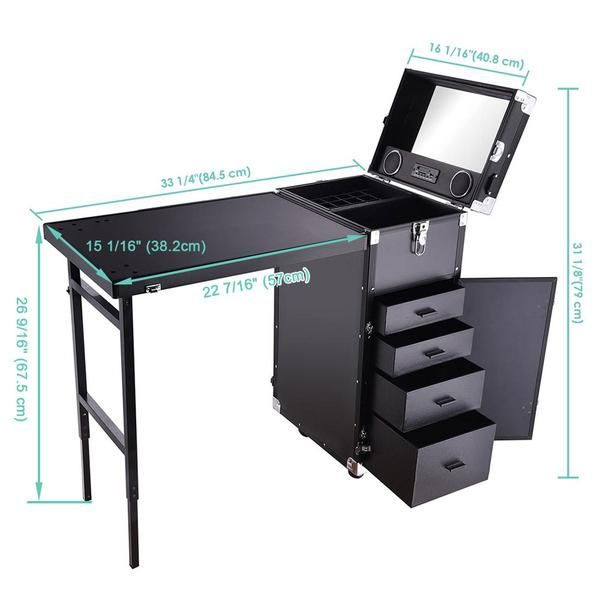 Rolling Makeup Station Hair Nail Workstation W Speaker