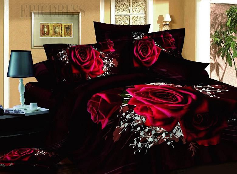 100 Cotton Luxury Romantic Red Rose 3d Bedding Sets Red