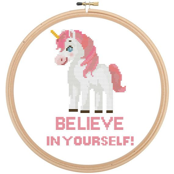 Unicorn Cross Stitch Pattern - Funny Quote - Believe in Yourself! by LeiaPatterns http://ift.tt/2eglSbd