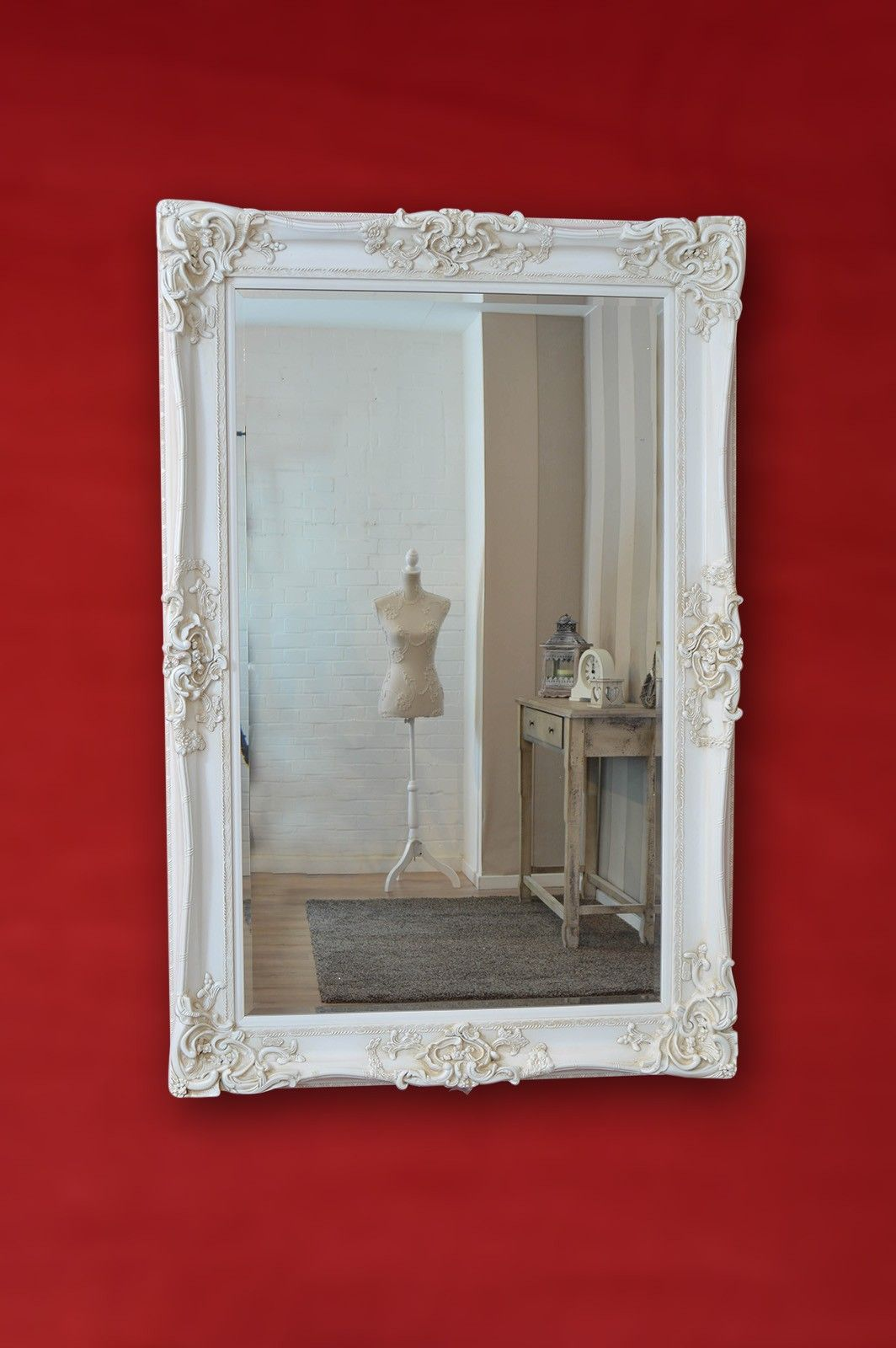 Large Ivory Ornate Frame Antique Design Big Wall Mirror