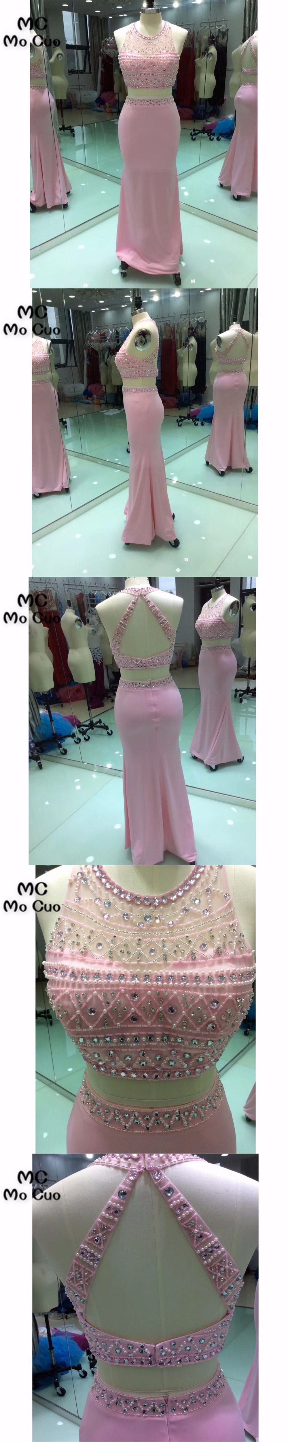 Two pieces gown new mermaid prom dresses long crystals beaded