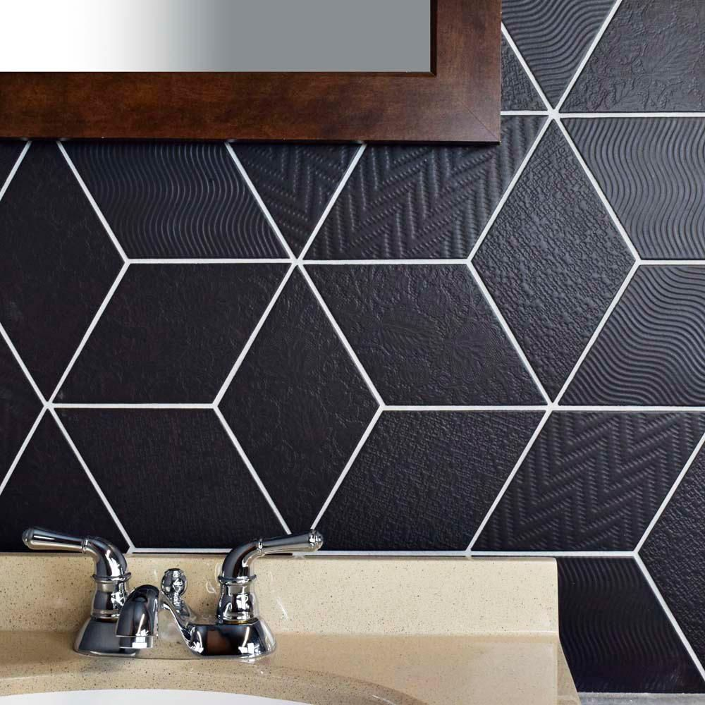 Merola Tile Rhombus Black 5 1 2 In X 9 1 2 In Porcelain Floor And Wall Tile 11 68 Sq Ft Case Fe Black Tiles Kitchen Tiles Backsplash Porcelain Flooring