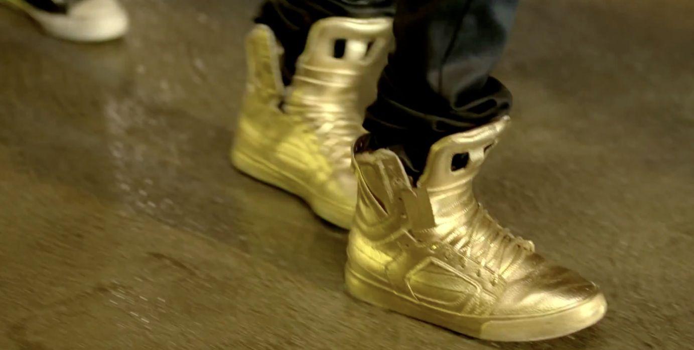 9023d44de41 Supra Gold Skytop shoes worn by Justin Bieber in BOYFRIEND by Justin Bieber  (2012) #supra