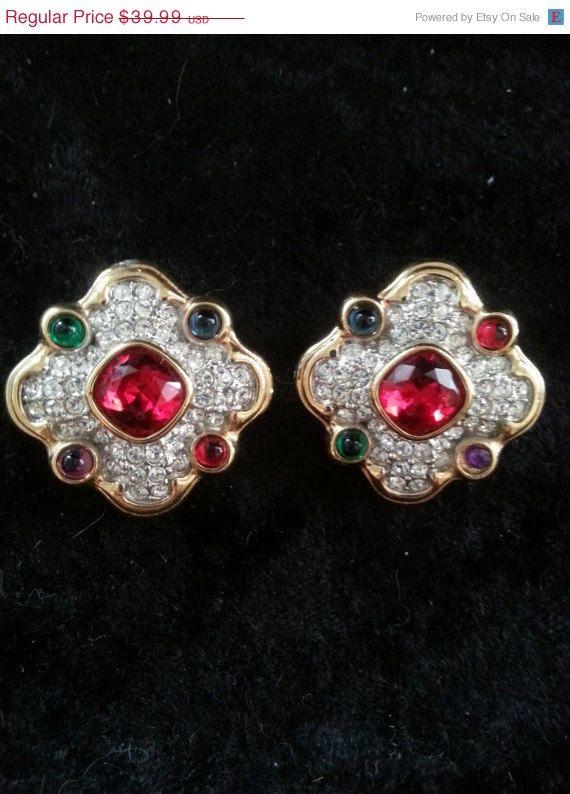 #vogueteam Vintage Colorful Rhinestone Earrings Chunky Red by MartiniMermaid