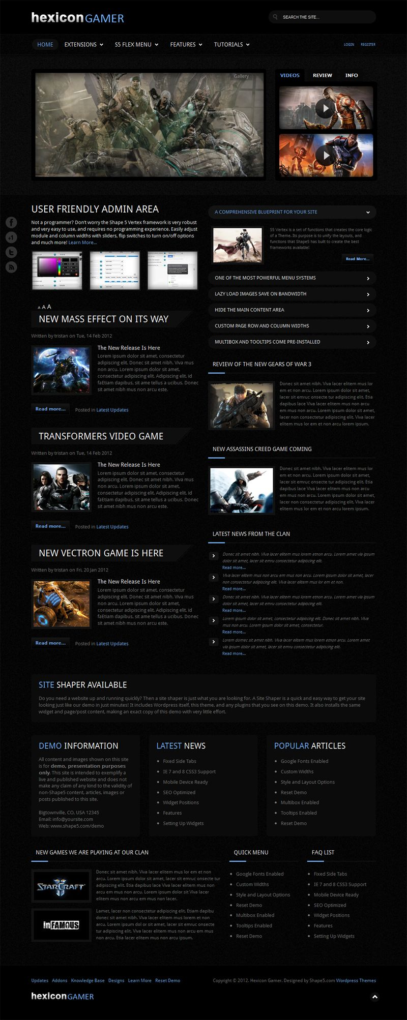 Great #dark #Wordpress theme from Shape5 - Hexicon Gamer - for a ...