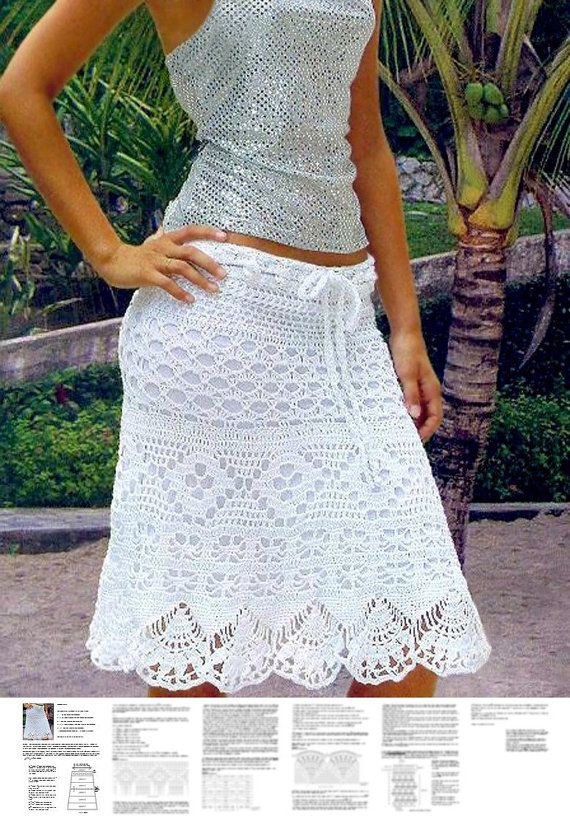 Knee length crochet skirt PATTERN (sizes S-2XL), instructions for ...