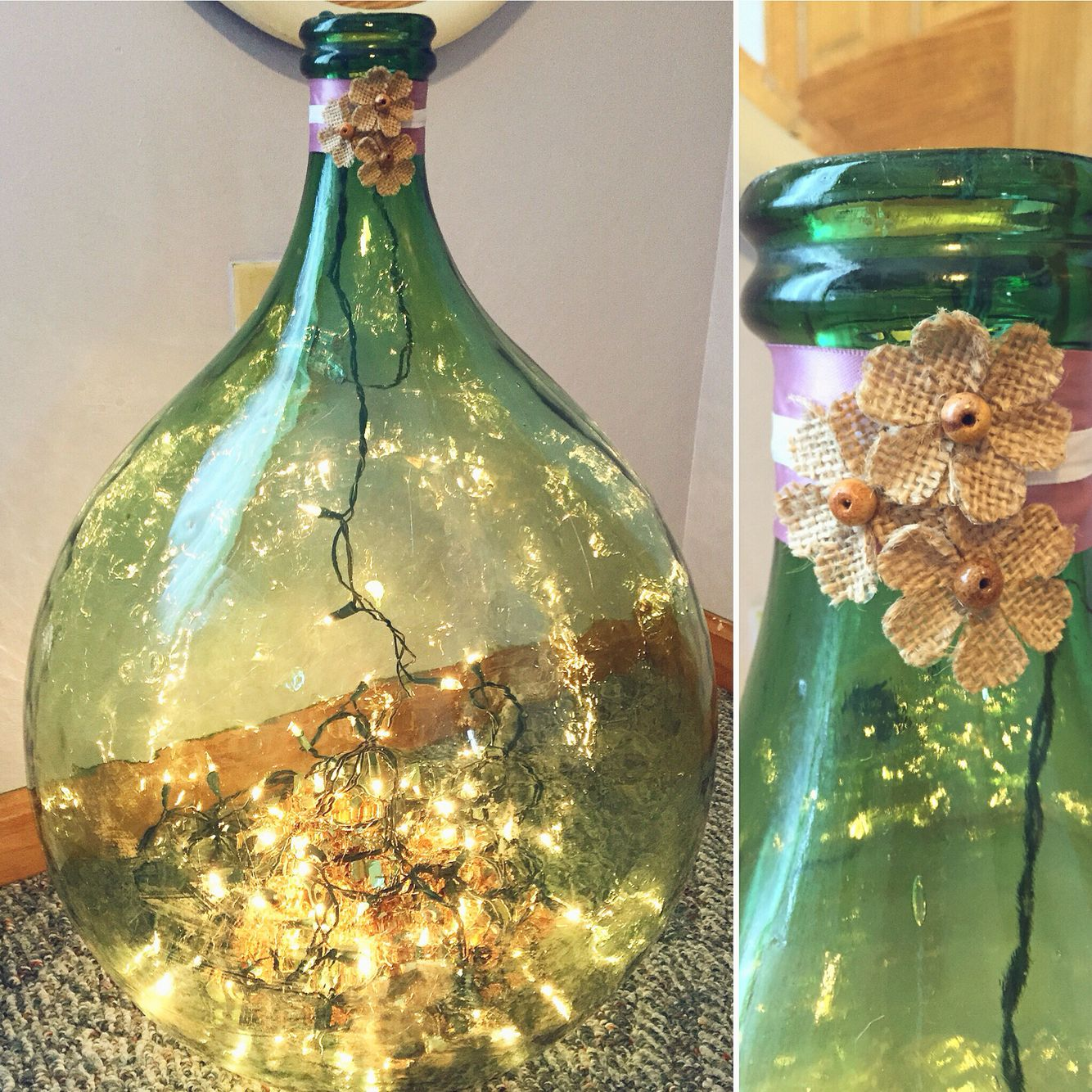 Simple Demi John decor; Christmas lights and tinsel for extra shine ...
