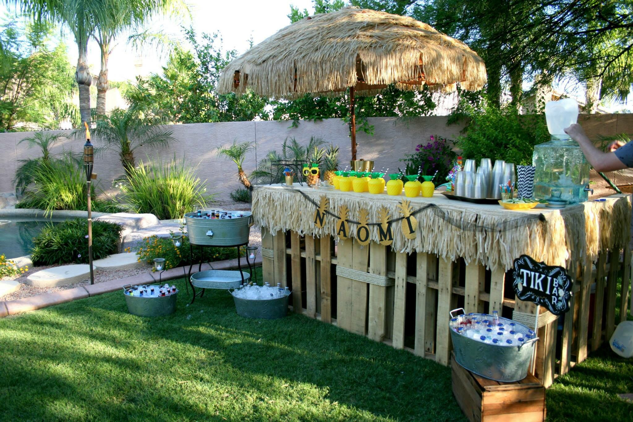 Tiki Bar At A Party Like Pineapple Themed Backyard Graduation Black And White