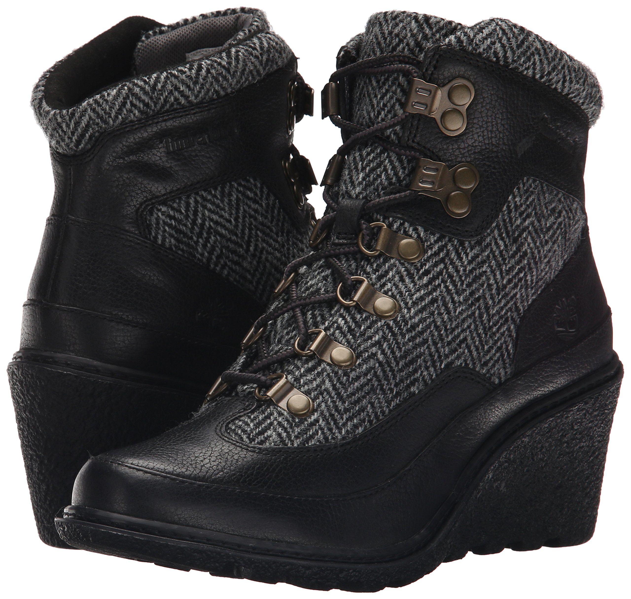Timberland Womens Amston Hiker Boot Jet Black Woodlands/Grey Harris Tweed  Wool 8.5 M US