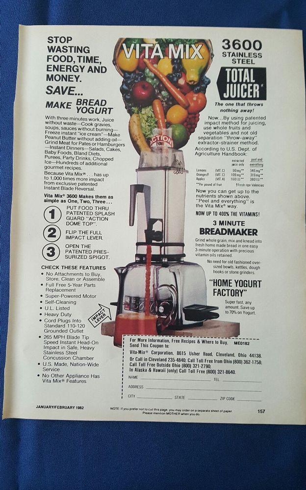 "vintage Vita Mix ""Total Juicer"" advertisement"
