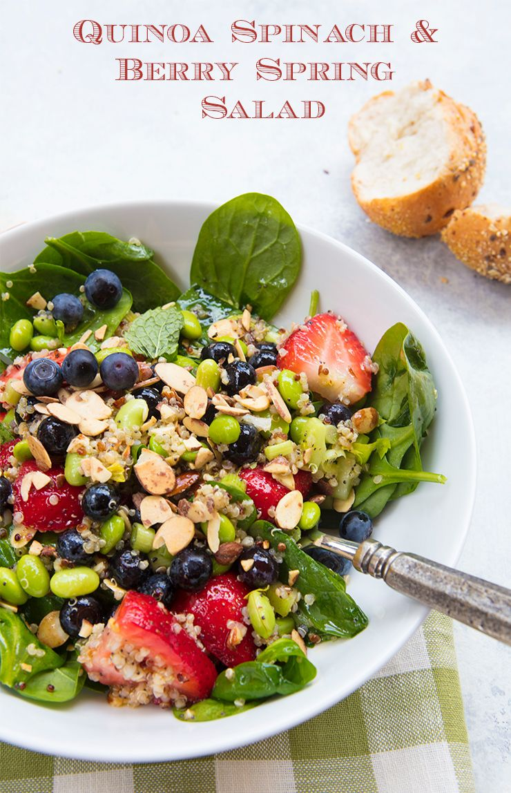 Quinoa, Berry, & Spinach Salad With Honey Poppy Seed