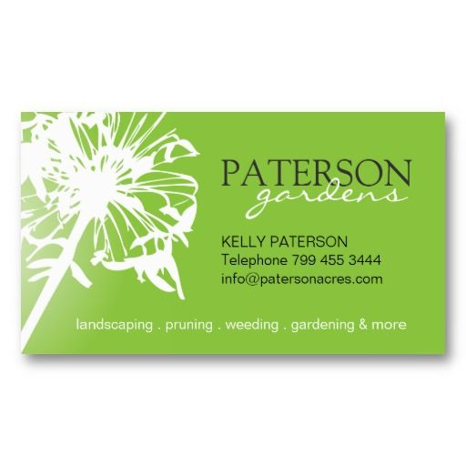 Gardening business card dandelion pinterest flower silhouette gardening business cards featuring a white flower silhouette dandelion silhouette on green background reheart Images