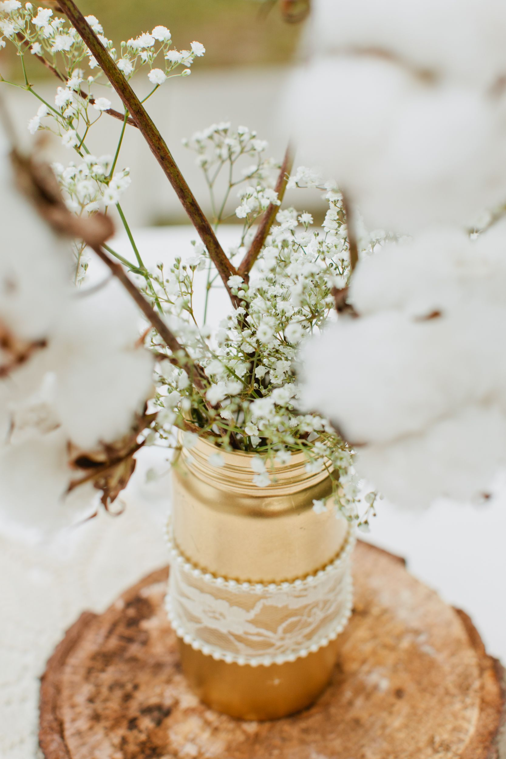 Gold Mason Jar with Baby\'s-Breath | outdoor weddings | Pinterest ...