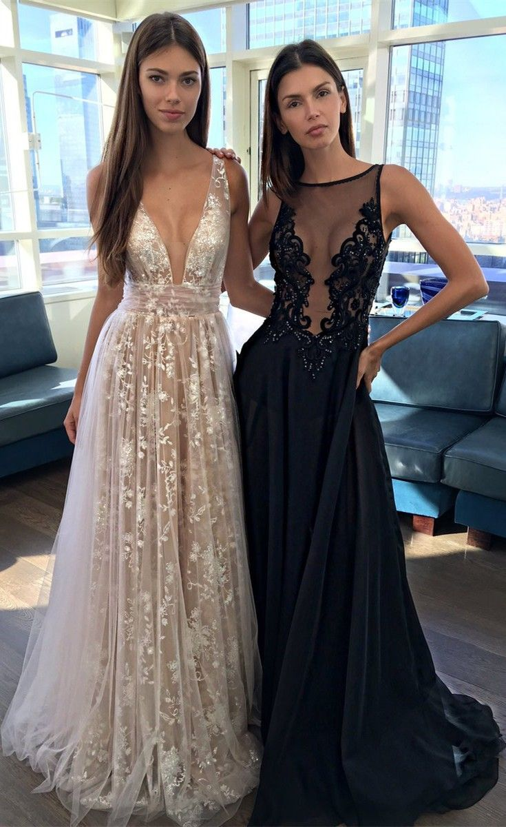 Sexy deep vneck sleeveless long blush prom dress ruched promprom