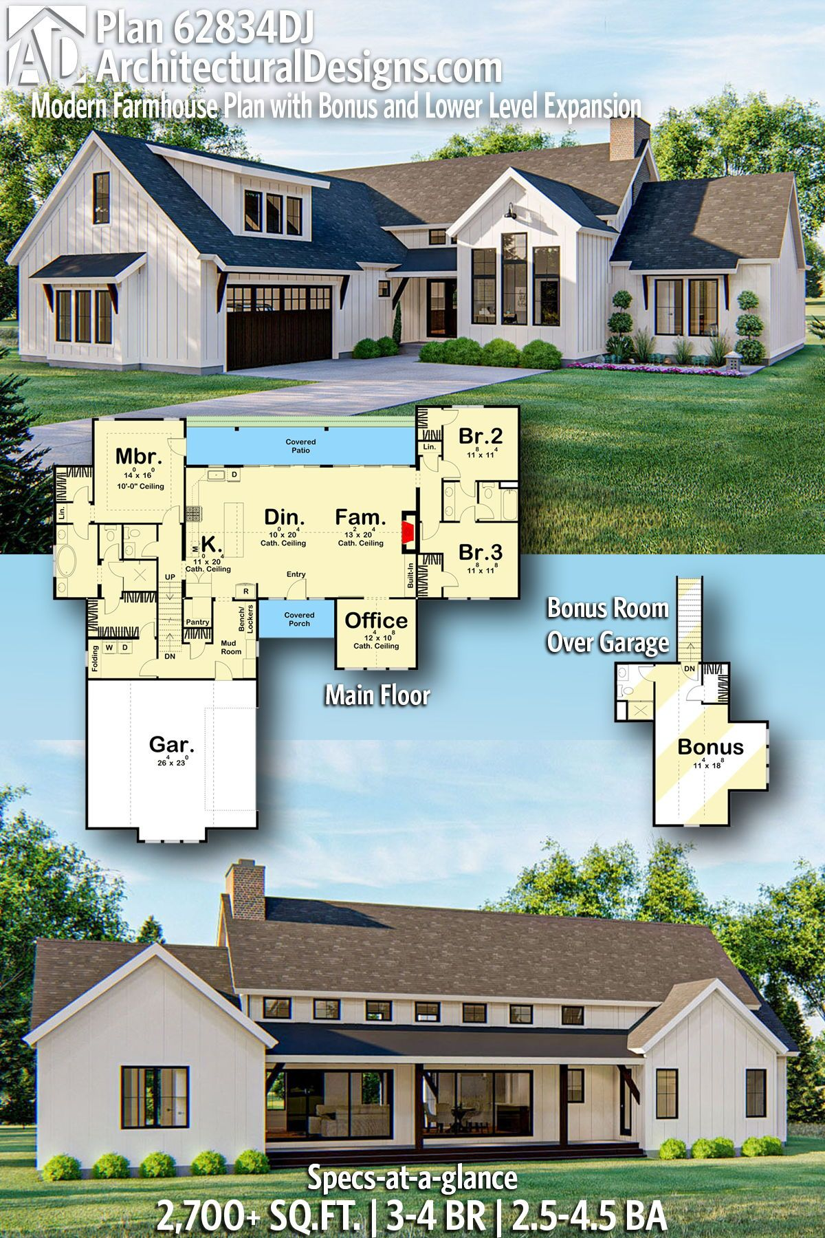 Plan 62834dj Modern Farmhouse Plan With Bonus And Lower Level Expansion In 2020 House Plans Farmhouse Modern Farmhouse Plans Farmhouse Plans