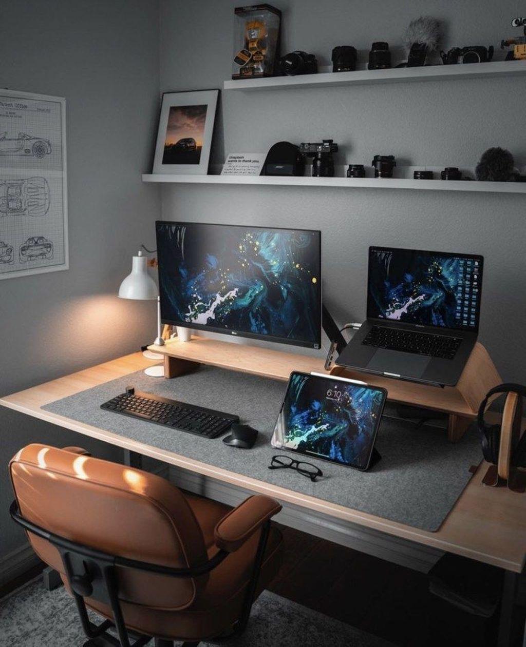 34 Gorgeous Home Office Design Ideas For Men Einrichten Hausdekoration Wohnzimmer Wohnung Dekoration Wohn Home Office Setup Office Setup Workspace Design