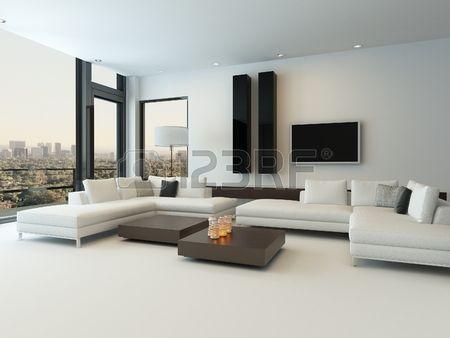 Modern design zonnige woonkamer interieur met een witte bank ...