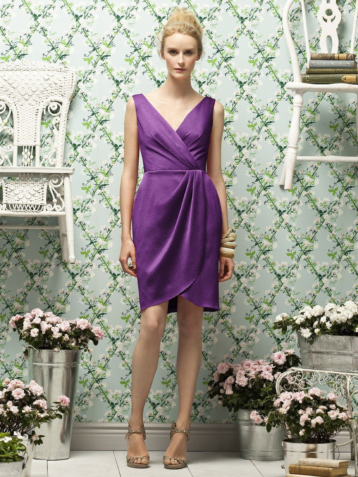 Zipper-Back Purple V-neck Ruched-Ruffles Column-Sheath Natural Satin ...