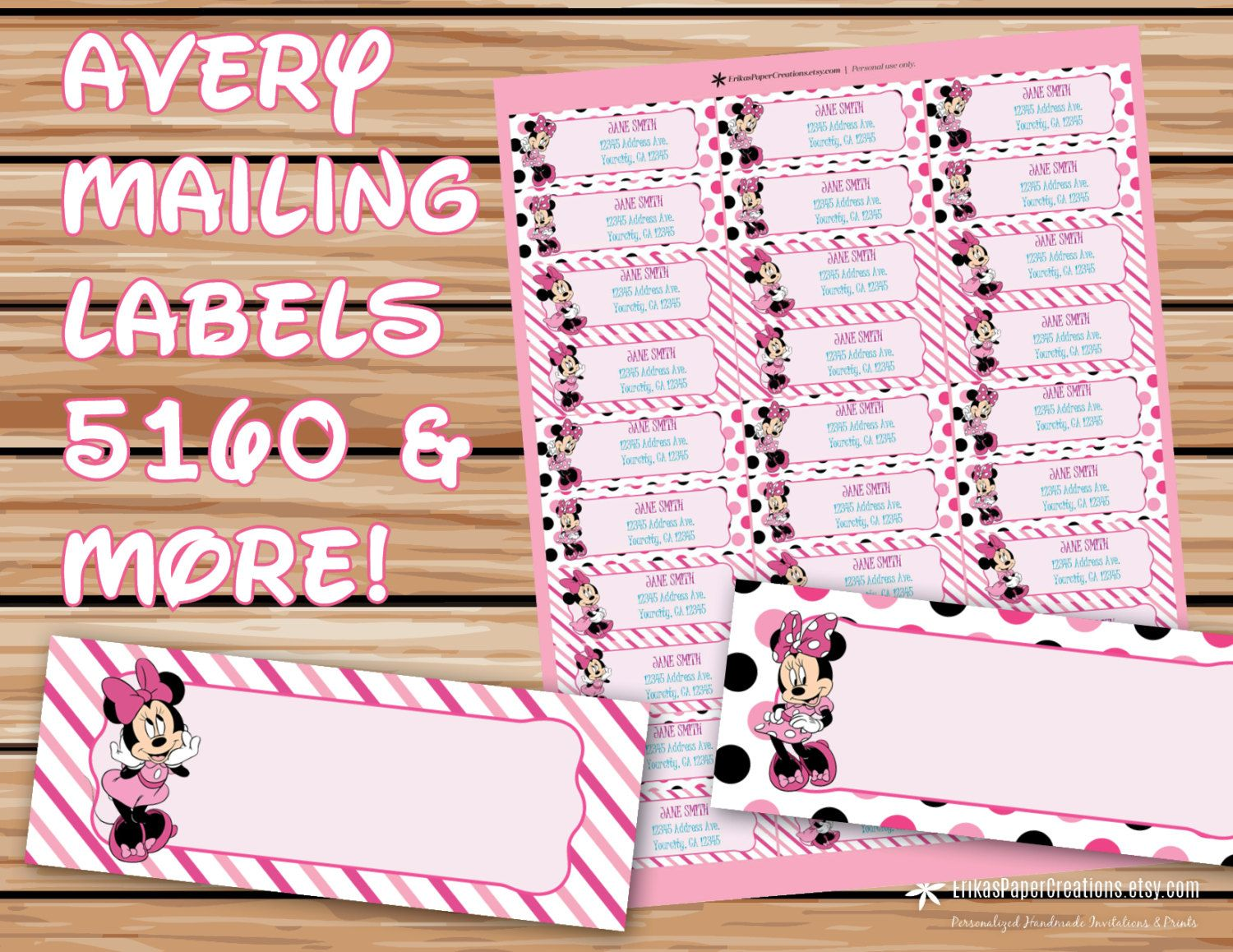 Minnie Mouse Editable Mailing Labels Avery 5160 Template