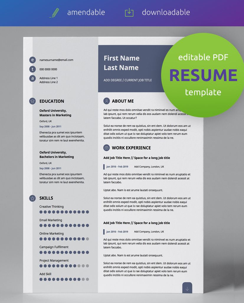 Slate Blue Modern Double Page CV Resume in 2019 Resume
