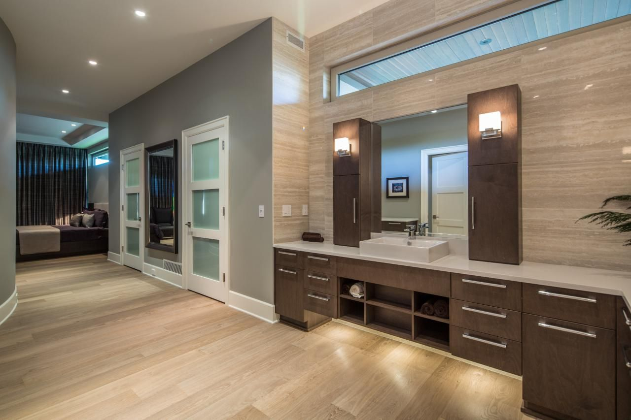 Master bedroom hardwood floors  To create continuity between the master bedroom and open concept