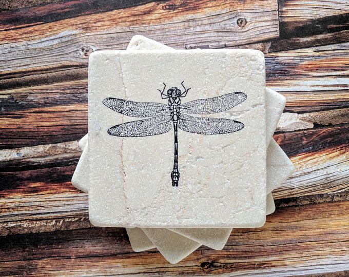 Dragonfly Coasters Travertine Tile Coaster Drink Set Of 4 Home Decor Gift Keep A For Yourself