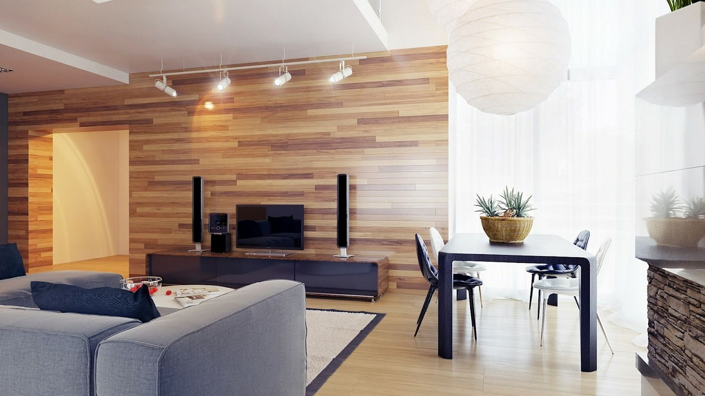 Neutral Living Room Wood Clad Walls Wood Walls Living Room