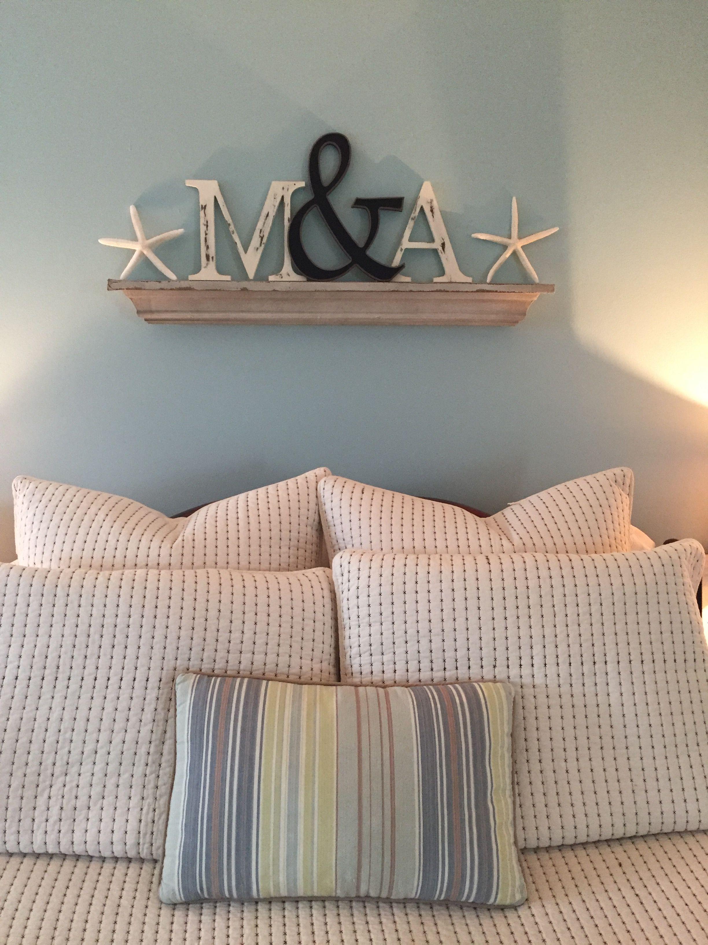 Master bedroom shelves above the bed  coastal decor romantic bedroom mantle shelf above bed distressed