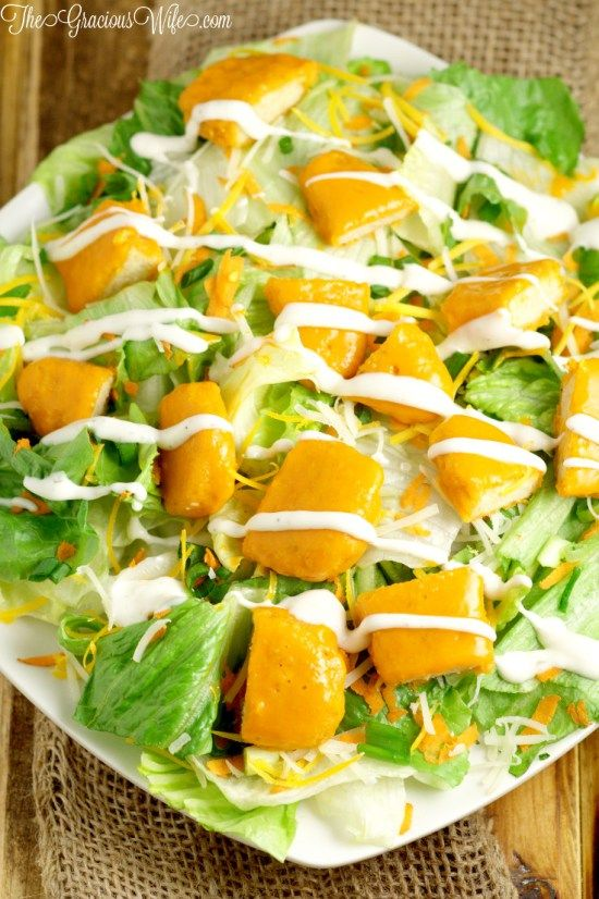 Buffalo Chicken Salad Recipe - an easy salad recipe with buffalo chicken tenders. Super tasty lunch idea, or even dinner salad! Great for any season, summer, winter, fall or spring!