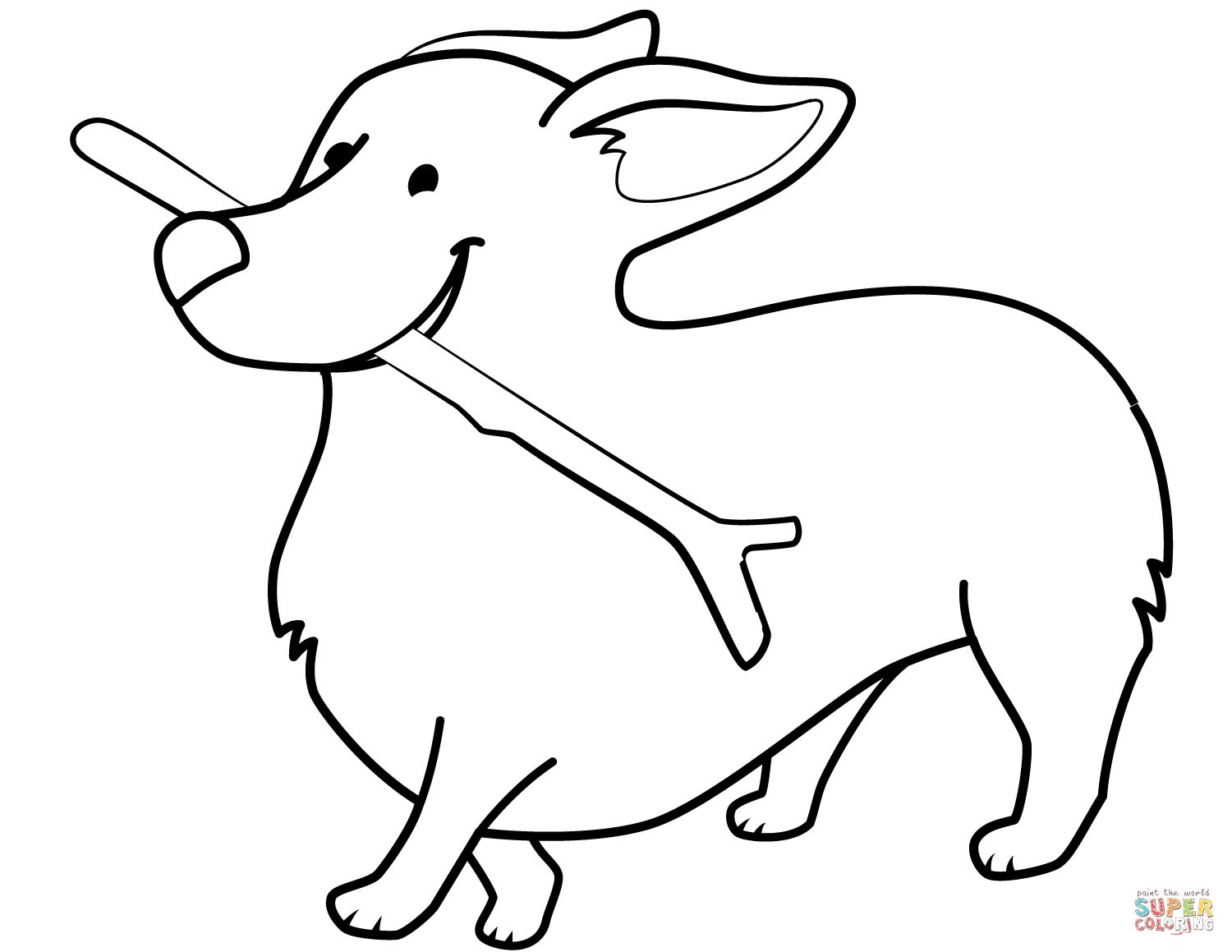 Funny Corgi Holding Stick Coloring Pages Download Dog Coloring Page Corgi Funny Animal Coloring Pages