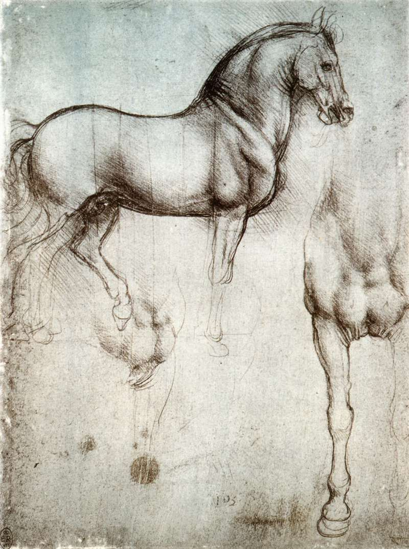 Study of horse from Leonardo's journals—Royal Library, Windsor Castle.  A page with two drawings of a war-horse, one from the side, and the other showing the chest and right leg