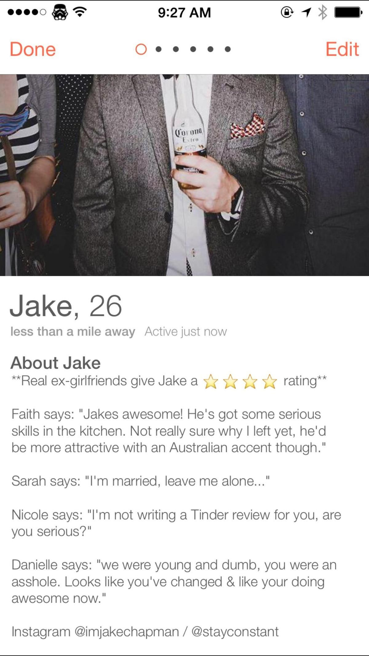 Man posts reviews from exgirlfriends on his Tinder