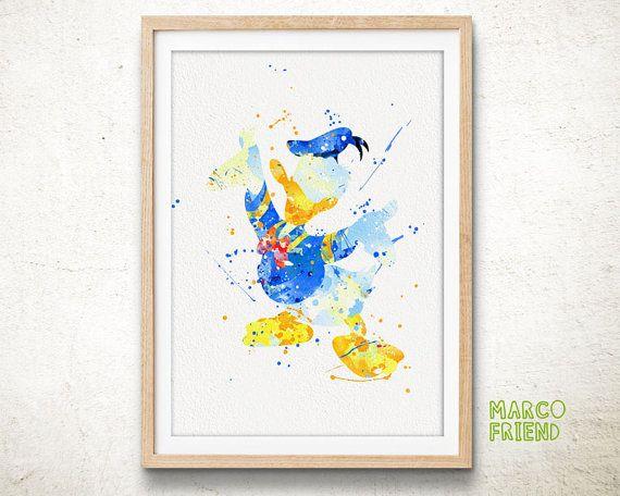 Donald Duck - Watercolor, Art Print, Home Wall decor, Kids Gift, Disney Wall Art, Donald Duck Poster