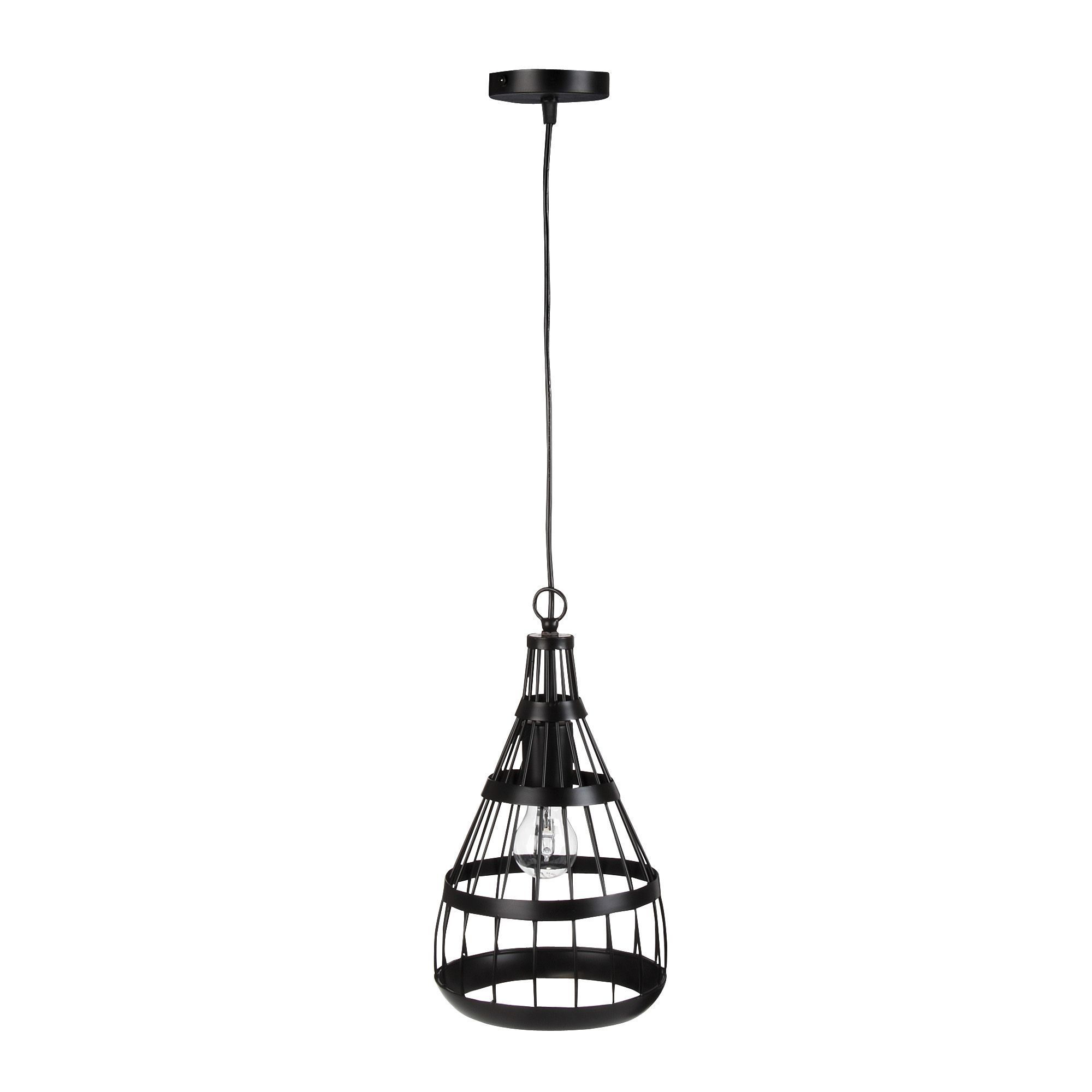 Suspension acier noir h36cm turenne suspensions for Luminaire noir suspension