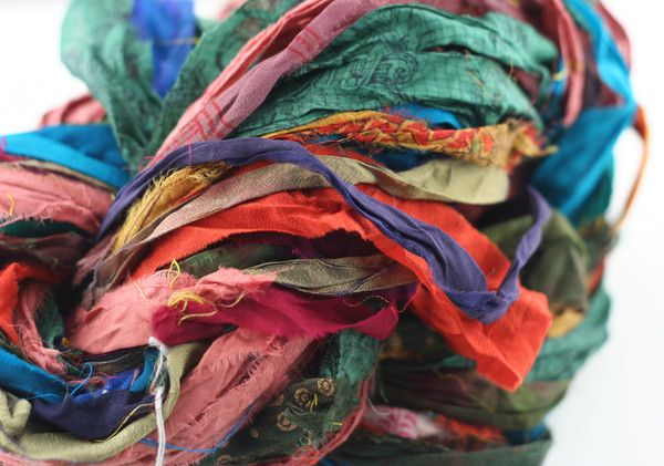 At the Bahamas: Multi Colored Sari Silk Ribbon Yarn | I