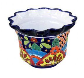 Talavera Scalloped Rim Flower Pot