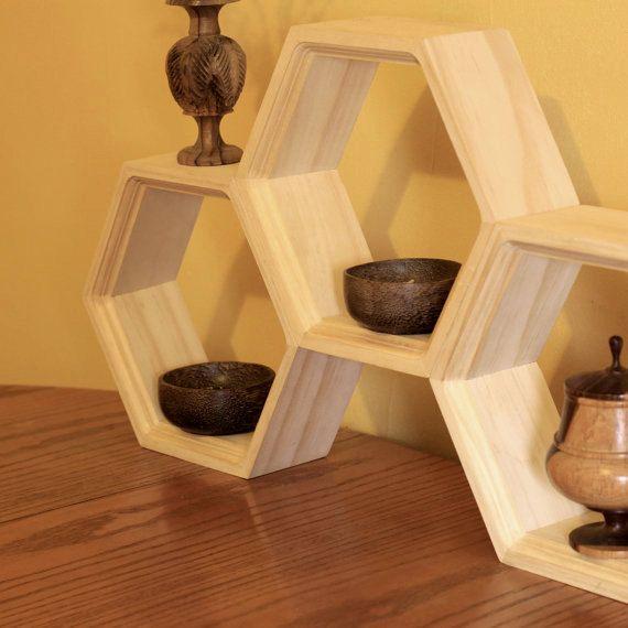 Rustic wood shelves hexagon wall shelving wood shelf danish modern storage kitchen shelving - Diy pflanzenwand ...