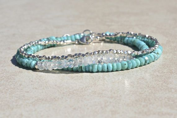 December Birthstone Turquoise Sleeping Beauty Bracelet Beaded Gemstone Birthday Gift For Women