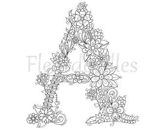 Coloring Page Floral Letters Nursery Alphabet M Hand Lettering