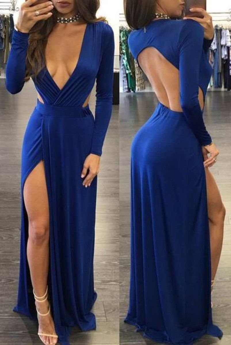 Sheath deep vneck slit leg open back sexy royal blue prom dress