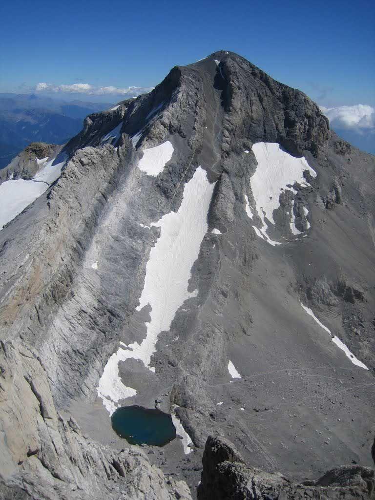 Monte Perdido Peak,  Aragon Pyrenees, Spain. The third highest peak in the Pyrenees, the highest  in Ordesa National Park.