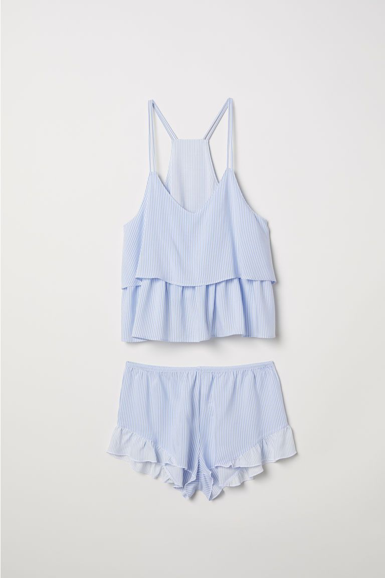 White with Blue Stripes Ladies Camisole with Matching Shorts