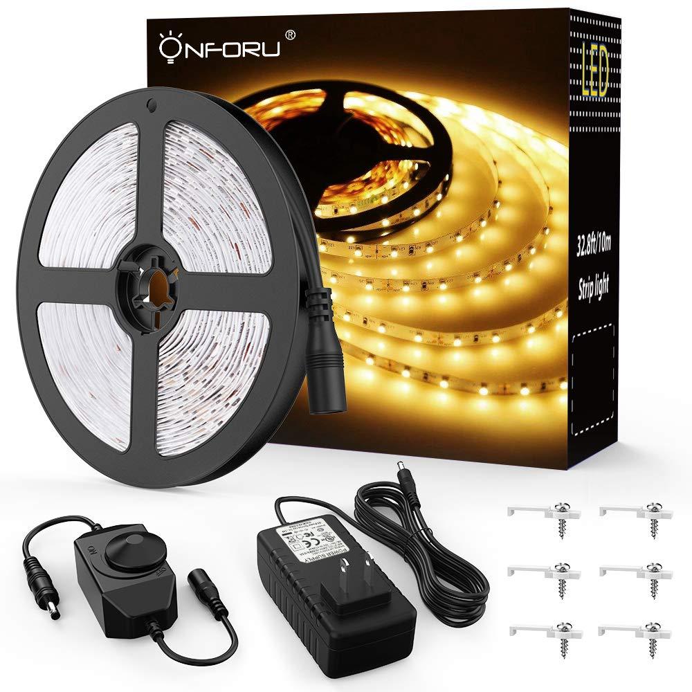 Amazon Com Onforu 33ft Dimmable Led Strip Lights Kit 600 Units 2835 Leds 12v Under Cabinet Lightin Led Tape Lighting Led Strip Lighting Rgb Led Strip Lights