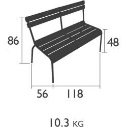 Photo of Fermob Luxembourg bench with backrest chili Fermob