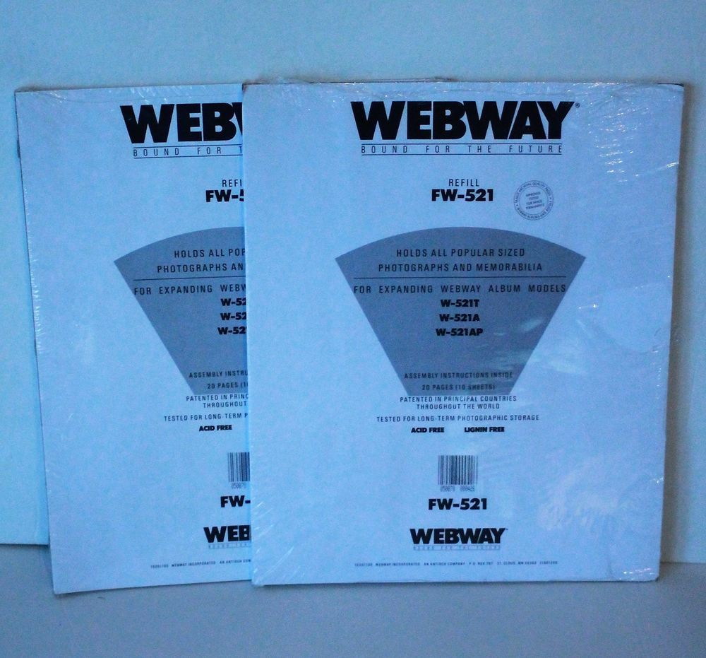 2 Webway Fw 521 Scrapbook Refill Pages Strapped Hinged 145 X 12