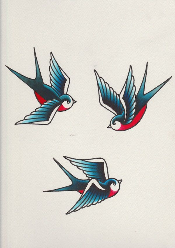 Swallows with red colour added tattoo pinterest for Swallow art tattoo