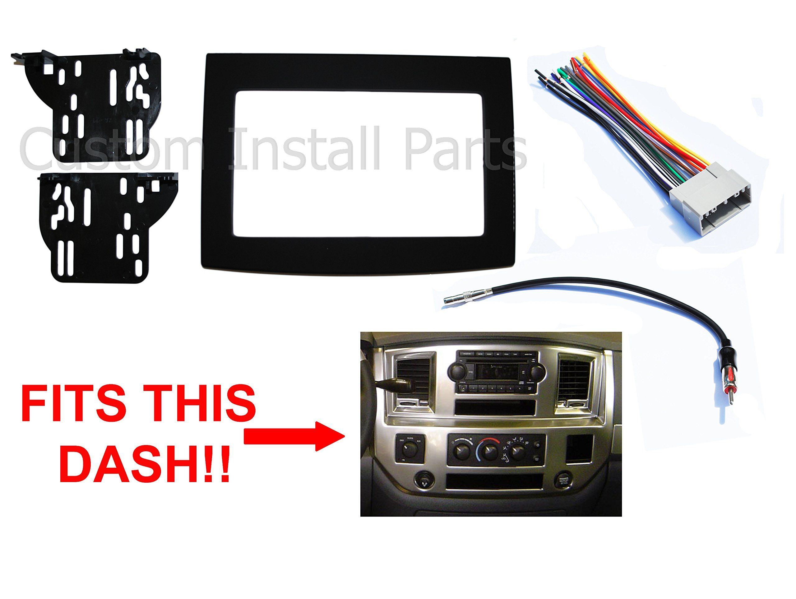 Black Dodge Ram Radio Stereo Double Din Dash Install Kit W Wiring Harness Installation Car Accessories Stereo