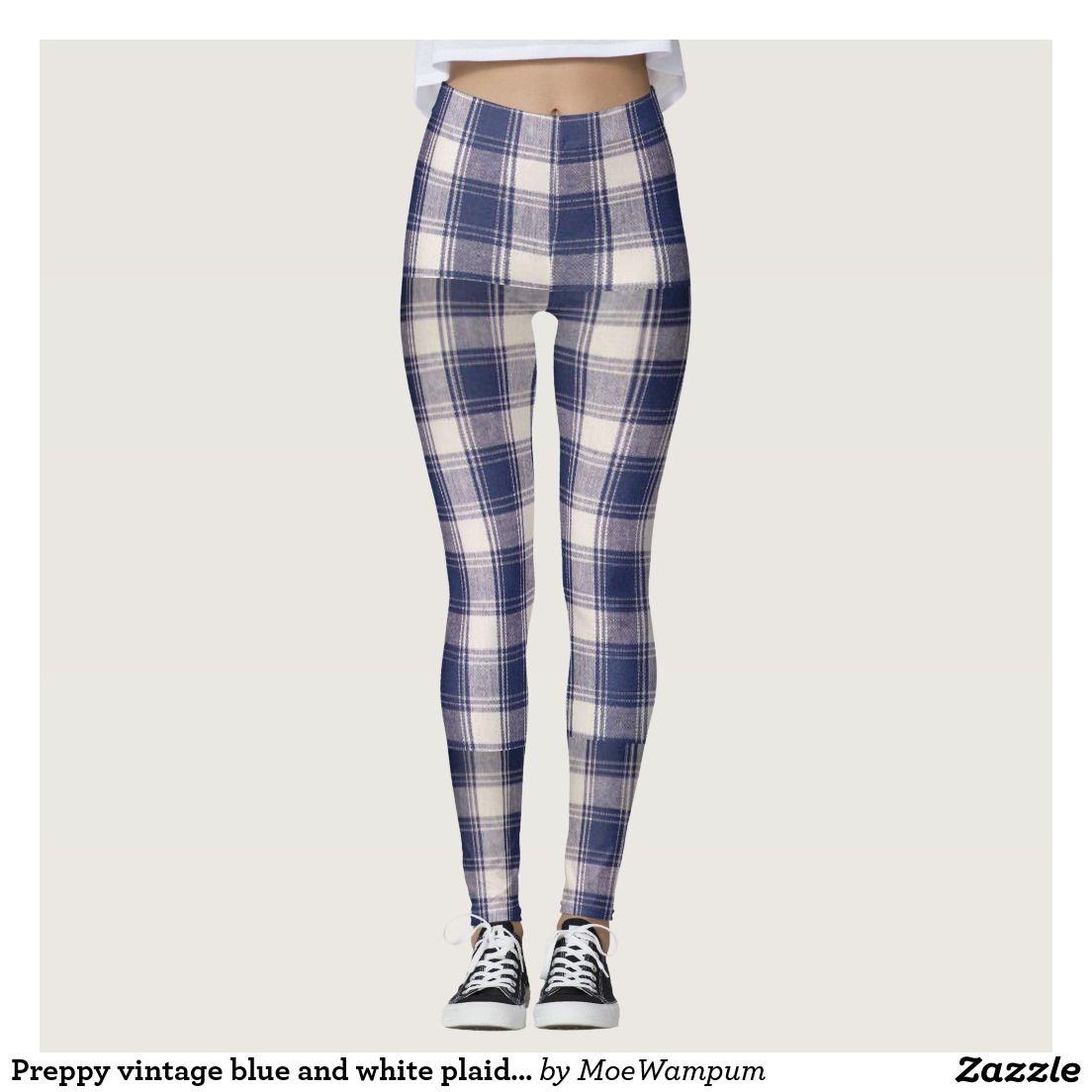 Preppy vintage blue and white plaid leggings