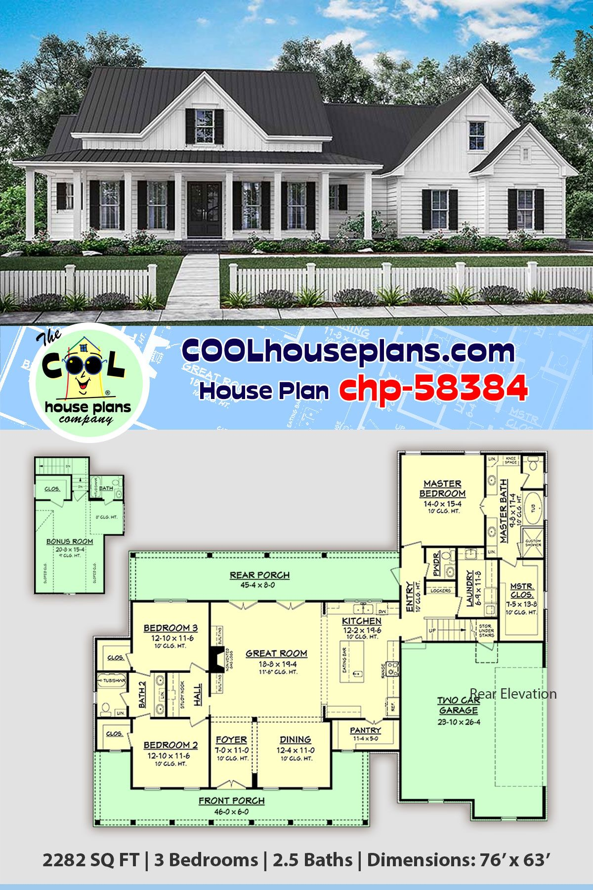 Traditional Style House Plan 56916 With 3 Bed 3 Bath 2 Car Garage Country Style House Plans House Plans Farmhouse Family House Plans