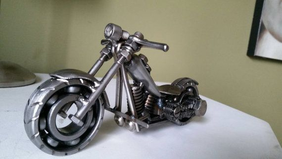 Custom Made Scrap Metal Art Harley Motorcycle By Tidyecreations